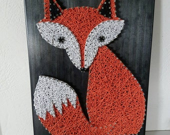 Woodland orange fox string art wall decor