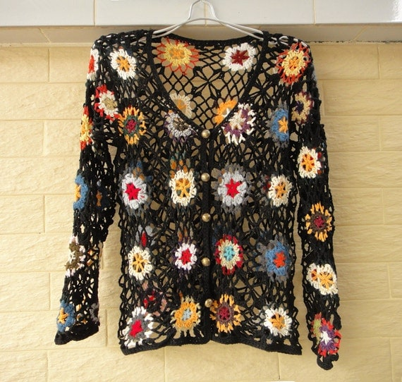 Crochet Flower Cardigan Pattern : Boho Crochet Floral Cardigan Sweater