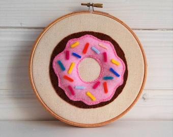Embroidery hoop art, Donut, Home Decor, Fabric Wall Hanging, Nursery Wall Art, Baby Shower Gift,Gift Under 50, Nursery Decor, Art Embroidery
