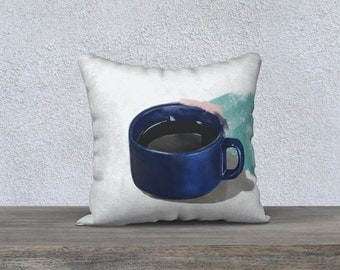 Throw Pillow Case, Coffee cup Throw Pillow, White Pillow, Modern Pillow case, Turquoise Pillow Cover, Multiple sizes