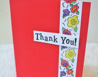 Handmade Red Thank You Card
