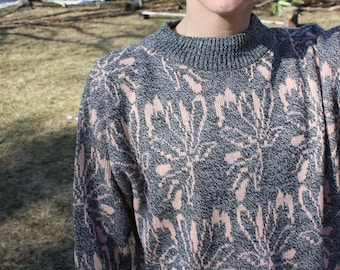 awesome pink + grey vintage wool sweater