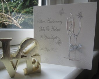 Personalised 25th Silver Anniversary Card - Flutes Design PPS11S