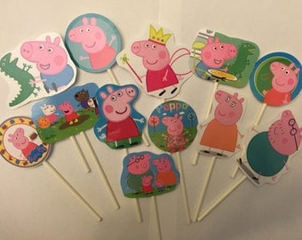 Peppa Pig cupcake toppers. 12 Nick Jr. cupcake toppers. Birthday cake decorations!