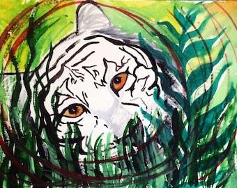 white tiger watercolor-PRINT