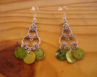"Hand ""Scent of spring"" water bottles made earrings with green and yellow sequins"