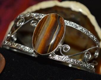 Golden Tiger Eye Cuff Bracelet (large)