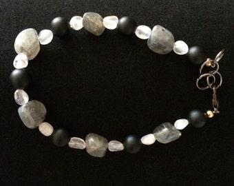 Labradorite, Moonstone, and Black Onyx Healing Bracelet