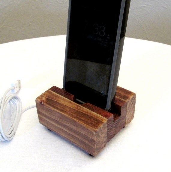 Wooden Charging Dock ~ Rustic docking stand charging station iphone dock ipod
