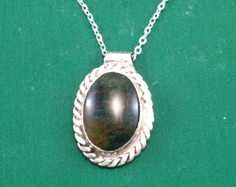 Bloodstone in Sterling Silver Pendant with Chain.