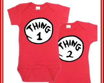 Dr. Seuss Thing1 Thing 2 Onesie, Thing 1 Thing Two, Twin Onesies, Funny Baby Clothes, Baby Shower Gift, Twin Outfits Baby boy Newborn Photos
