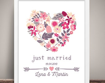 DIN A3 wedding day/anniversary art print, mural 'just married' print, gift wedding
