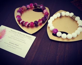 Handmade Beaded Marbled Pink & White Bracelet Set
