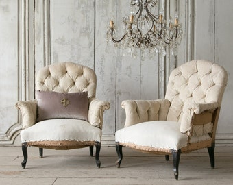 Eloquence Pair of Antique French Tufted Bergeres Chairs: 1880