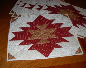 Placemats azteclike design quilted in browns and gold set of 6