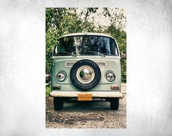 PRINT: VW Volkswagen Bus - Vintage Retro - Professional Fine Art Giclee Paper Print