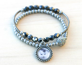 Photo Bracelet, Black Bracelet, Pearl Bracelet, Mother of the Bride Bracelet, Mother of the Groom Bracelet, Beaded Bracelet, Charm Bracelet