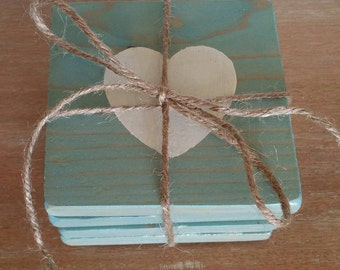 Set of 4 Wood Coasters- Blue Stain w/ White Heart - Home Decor