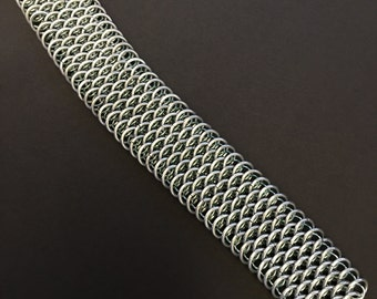 Silver and Seafoam 3 and 2 Dragon Scale bracelet made of anodized aluminum