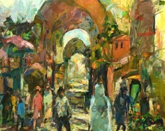 Original Oil Painting// Jerusalem Market// Israeli Painting// Modern Art// Home Decor