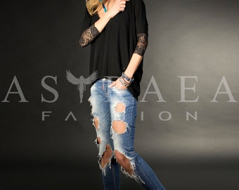 Lace Back Top, Casual Top,Woman Black Blouse, Open Back Shirt, AstraeaFashion-3006