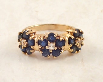 14K Yellow Gold Blue and White Sapphire Ring