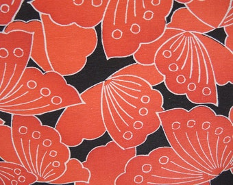 vintage Japanese kimono silk panel, orange butterflies on black