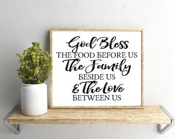 Printable Wall Art, God Bless the Food Before Us Quote, Home Decor, Instant Download