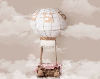 Digital Backdrops/Props (Newborn Hot Air Balloon Prop with Cream, Blue Backgrounds with Clouds) 4 Digital downloads