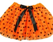 Orange with Black Polka Dots Elastic Dance Tutu-Supply Shop-DIY Supplies-Wholesale-By the Piece-PrincessDIYShop
