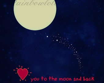Valentine's Day love you to the moon and back heart poster