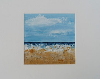 Acrylic Sea Painting, Summer Beach, Shoreline Landscape, Small Acrylic, Fine Art Seascape, Sea Beach, Original Print, Textured Ocean Decor Art