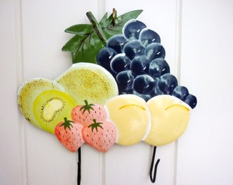 Vintage Double Iron Wall Hook - Summer Fruits