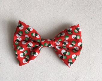 Snowman hair bow