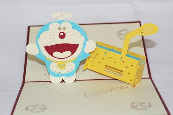 3D Doremon Pop Up Card, Pop Up Greeting Card, Happy Bir