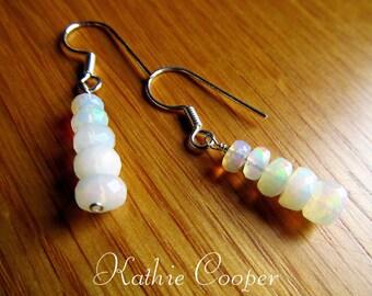 Sterling Silver and Ethiopian Opal Shepherd Hook Dangle Earrings