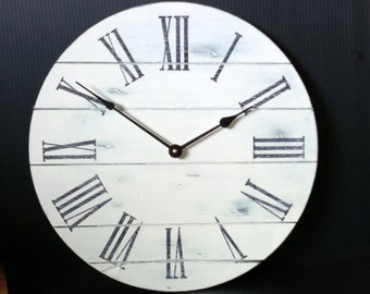 Off-white Distressed Wall Clock with plank detailing