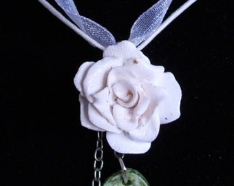 Simple White Polymer Clay Rose Necklace