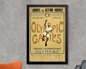 London 1908 Olympic Games Poster Print - Fourth International Olympiad