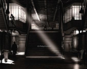 Cambronne metro station, Paris, France, aerial parisian metro, stairs, black & white urban photography, chiaroscuro, sunbeam