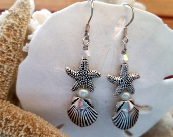 Starfish, shell, pearl and crystal earrings