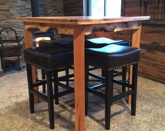"Handmade Oak Industrial Rustic Pub Table 42""W x 42"" L x 42""H. Stools not included."