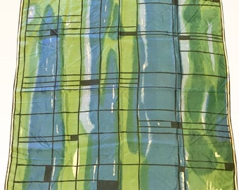 """Vintage Vera Neumann Blue and Green Scarf 26.5"""" square"""