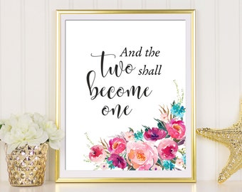 Ephesians 5:31, And The Two Shall Become One, Wedding Print, Christian Wall Art, Bible Verse Print, Christian Gifts, Scripture Art, Digital