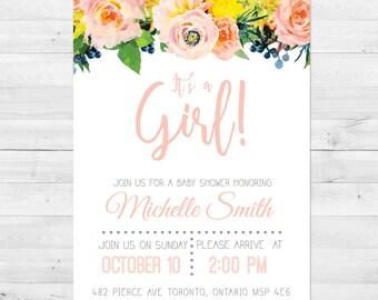 Baby Shower Invitation Girl, Baby Shower Invitation, Floral Baby Shower Invitation, Pink, Watercolor Baby Shower Invitation