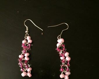 Two Tone Pink Dangle Earring