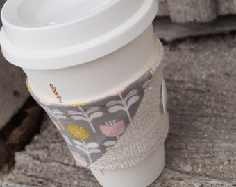 Reusable Coffee Cup Cozy ~*Folk Burlap*~