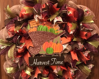 Fall Wreath, Harvest Wreath, Harvest Time Wreath, Pumpkin Wreath
