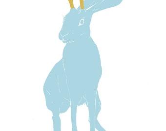 illustration blue jackalope, imaginary creature