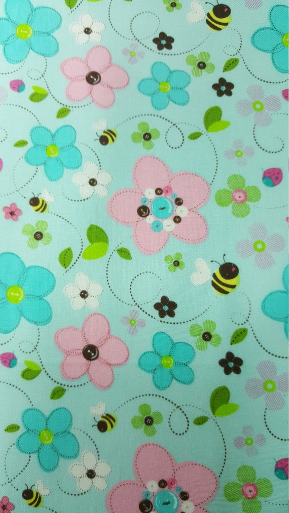 Cute bumble bee fabric fat quarter only fq nursery for Cute baby fabric prints